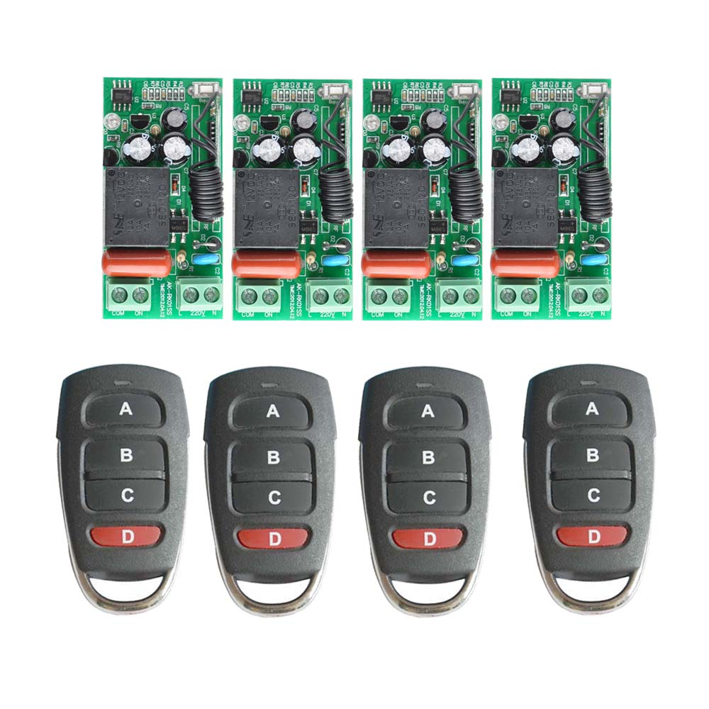 AC 220 V 1CH Relais RF Sans Fil Commutateur de Commande À Distance Sans Fil Interrupteur de Lumière Sortie = Entrée; 4 PCS Récepteur + 4 PCS Grand Émetteur