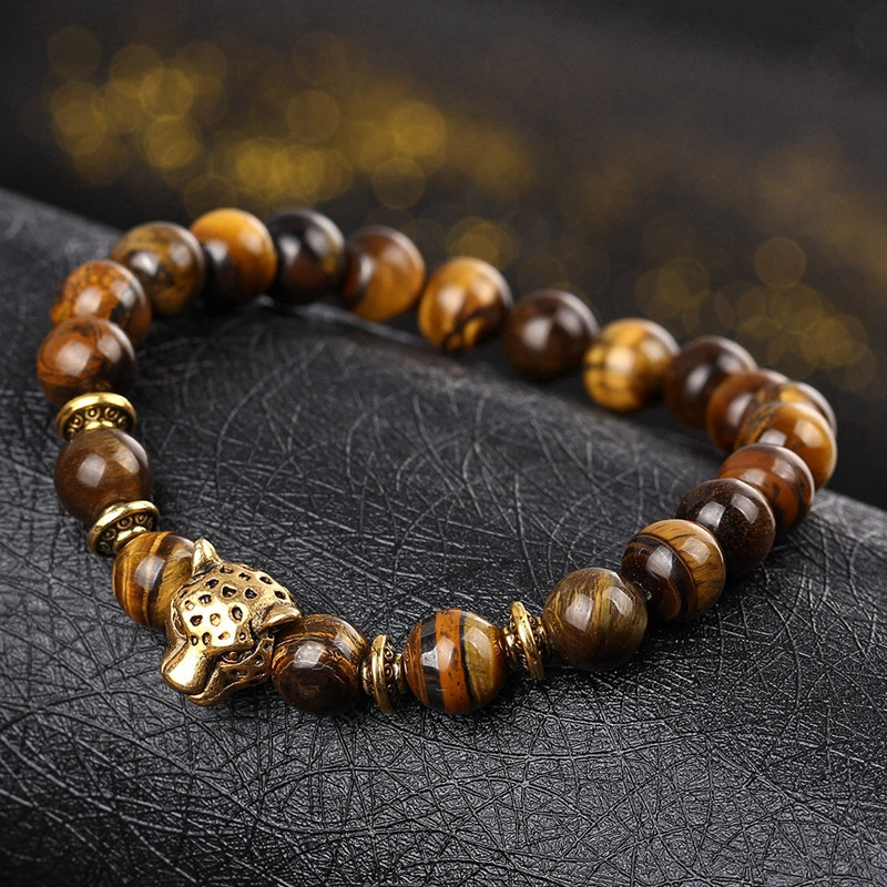 DUOVEI Weathering Stone Leopard Head Beaded Bracelet For Men New Fashion Natural Stone Tiger Eye Onyx Lava Beads Bracelets 5
