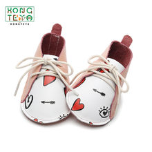 Pink Heart lace up Baby Moccasins Firstwalkers Genuine Leather Newborn Baby Shoes Baby Soft Sole Non-slip Footwear Casual Shoes(China)