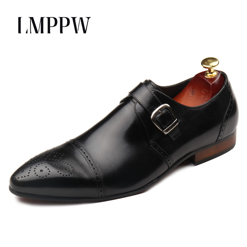 Luxury Brand Men's Business Dress Shoes Man Genuine Leather Oxford Shoes Fashion Hasp Wedding Leather Brogue Shoes Black Red 2A hot sale italian style men s flats shoes luxury brand business dress crocodile embossed genuine leather wedding oxford shoes