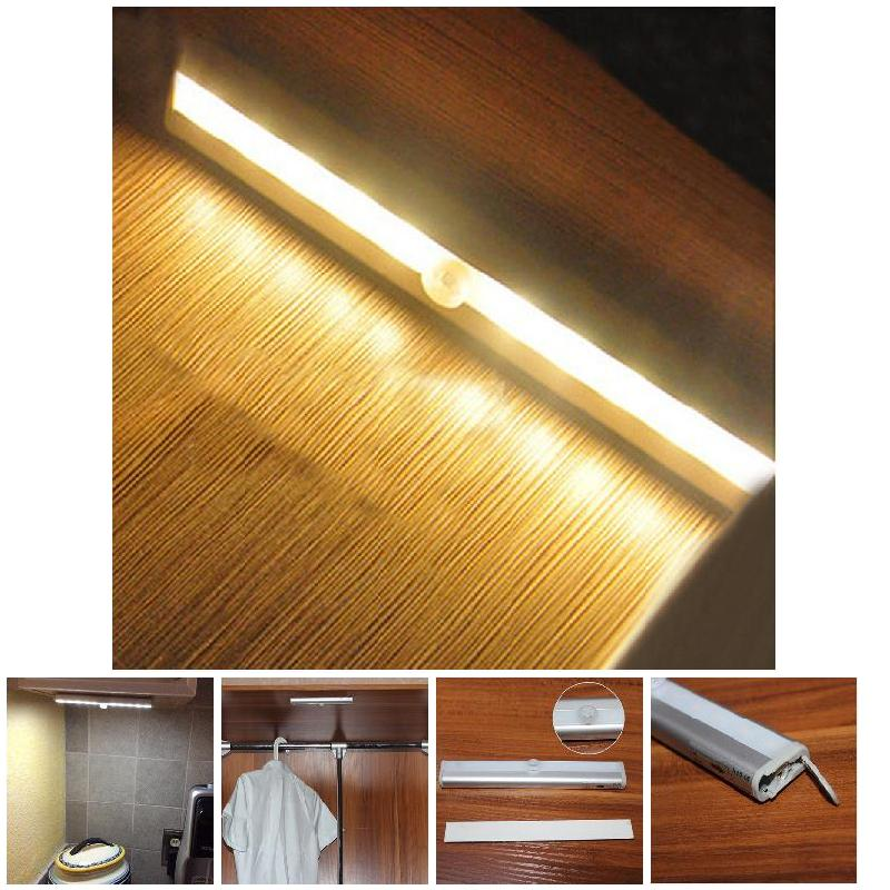 Stick On Anywhere Portable 10 LED Wireless Motion Sensing Closet Cabinet LED Bar Light / Stairs Light / Step Light Bar --M25 portable 20 led wireless motion sensing closet under cabinet led night light for light lamp bar up to 15 feet battery operated