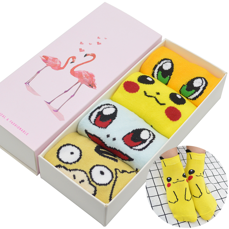 4 Pair/set Cute Cartoon Anime Women Short Socks Pokemon Pikachu/Squirtle/Psyduck/Charmander Women Ankle Socks With Gift Box