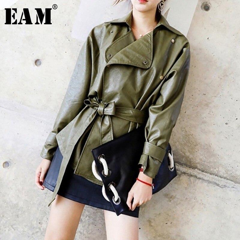 [EAM] 2018 New Autumn Winter Solid Color PU Leather Coat Slim Short Lace Up Shrink Waist Jacket Women Fashion Tide LA940