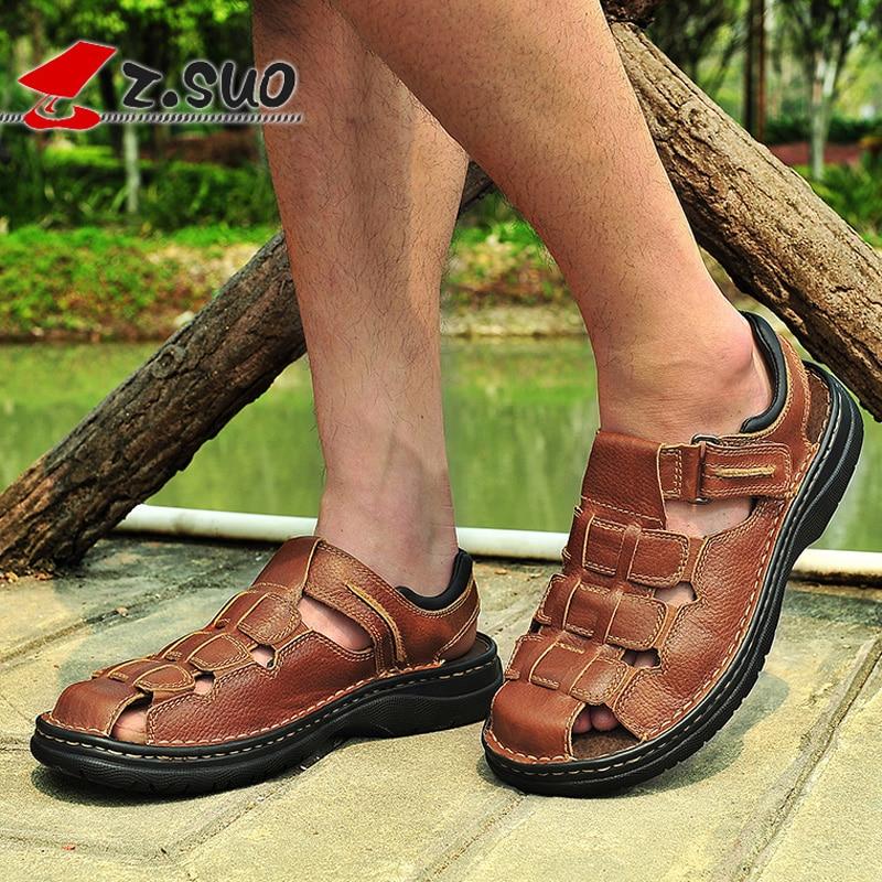 2018 Summer Brown Rubber Men Sandals Genuine Leather Hook Loop Shoes Men Beach Man Sandals Slip On Sandalias Big Size 46 47 48