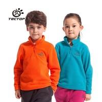 Tectop Children Fleece Jacket Child Outdoor Windproof Coat Jackets Pullover Half Zip Top Boys Girls Winter Warm Clothing Orange