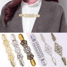 Ouro prata cor pato clipes flexível frisado pérola pino broche xale camisola cardigan colarinho clipe fivelas