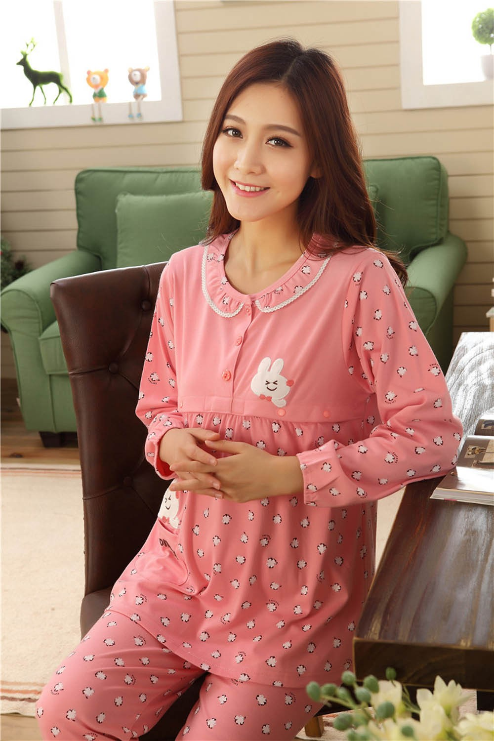 Pregnant-Woman-Pajamas-Postpartum-Breastfeeding-Month-Of-Serving-Lapel-Clothes-Long-sleeve-Sleepwear-Suits-CL0800 (14)