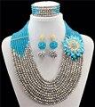 2016 joyería de los granos Africanos set Astilla verde oscuro perlas de Imitación de novia joyería nigeriano boda perlas africanas joyería Conjunto
