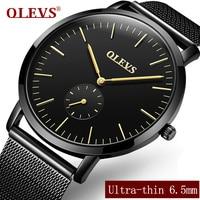 OLEVS Ultrathin Dress Quartz Men's Wristwatch Black/Blue Steel Mesh Strap Business Watch Male Clock Student Watches reloj 5871G