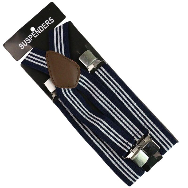 Winfox Fashion 3.5cm Wide Men's Women 4 Clip-on Braces Elastic Suspender Striped Mix Suspenders