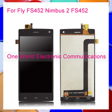 1pcs/lot LCD Display For Fly FS452 Nimbus 2 FS452 LCD Touch Screen Digitizer Complete Assembly Replacement Parts Tracking Code