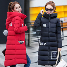 Long Down Parkas For Women 2016 Warm Winter Jackets And Coats With Letter Pockets Thickening Cotton
