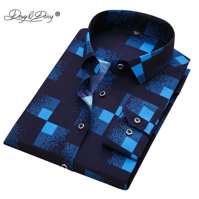 DAVYDAISY 2019 Neue Ankunft 100% Polyester männer Shirt Mode Männer Druck Langen Ärmeln Hemd Männlich Slim Fit Marke Kleidung DS217