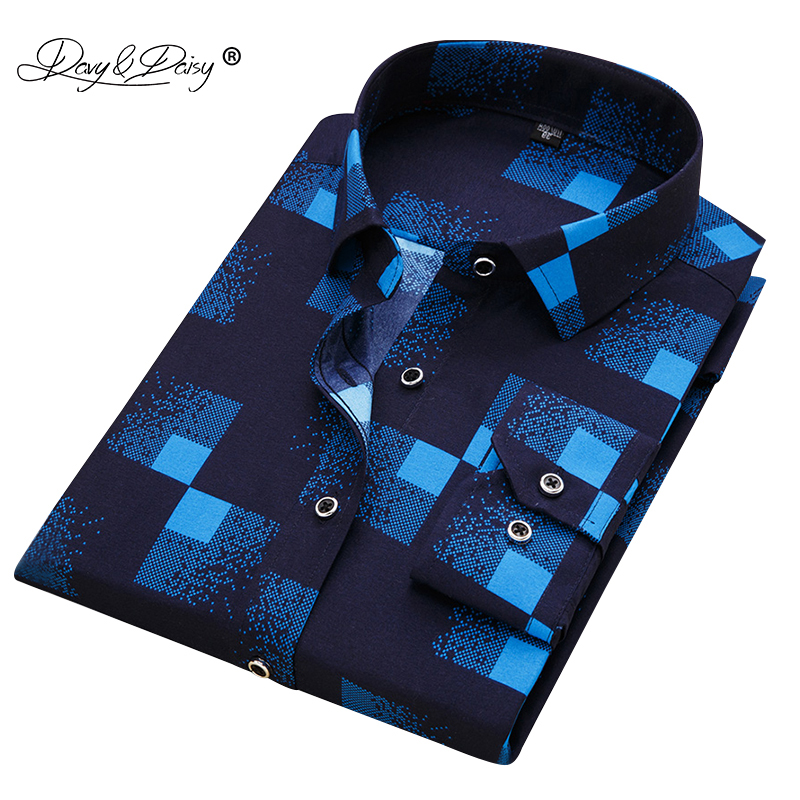 DAVYDAISY 2019 New Arrival 100% Polyester Men's Shirt Fashion Men Print Long Sleeved Shirt Male Slim Fit Brand Clothing DS217