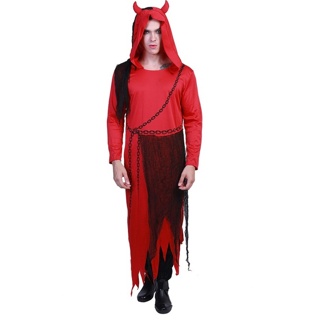 Halloween Costumes Scary Men.Us 23 85 Hot Halloween Costume Uniform Adult Men Tricky Shackle Red White Devil Costumes Scary Lord Fancy Long Coat Male Party Clothes In Hoodies