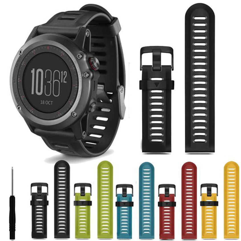 где купить Soft Silicone Strap Replacement Watch Band With Tools For Garmin Fenix 3 Width 27mm Watchband Correa Dropshipping Dignity JU05 дешево