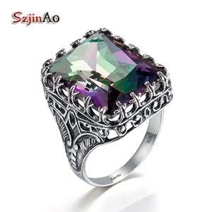 Женское кольцо в стиле панк Szjinao, кольцо из стерлингового серебра 925 пробы с мистическим радужным кристаллом, большое винтажное серебряное З...