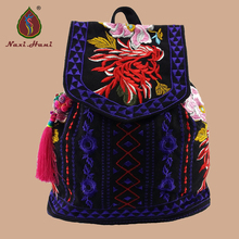 hot deal buy national style embroidered canvas backpacks vintage fashion women travel backpacks brand bags
