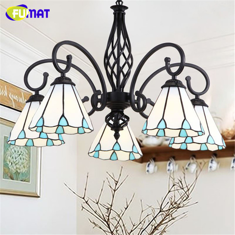 FUMAT Stained Glass Pendant Lamps Europe Style Blue Glass Shade 5 Lights For Living Room Bedroom Lamp Hotel Glass art Lights купить