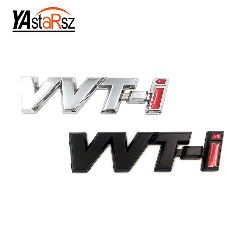 Metal VVT-i VVTi Logo Chrome Silver Strip Car Fender Sticker Side Emblem Badge for TOYOTA Camry COROLLA YARiS Ralink REIZ CROWN special car trunk mats for toyota all models corolla camry rav4 auris prius yalis avensis 2014 accessories car styling auto