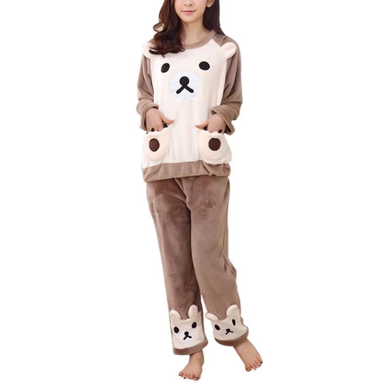 Autumn Winter Women Sleepwears Warm Flannel   Pajama     Set   Sleepwear Lovely Bear Printed Long Sleeve Top & Pants Casual Clothes