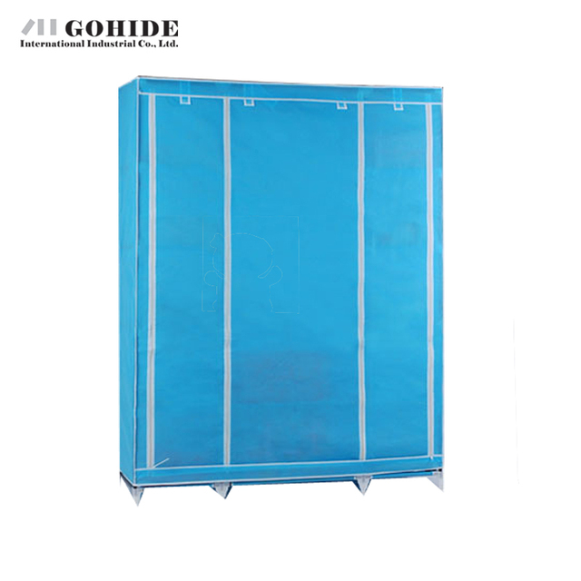 Gohide Simple Folding Non-Woven Steel Frame Wardrobe Assembled Wardrobe Furniture Wardrobes With Simple Lockers For Bedroom