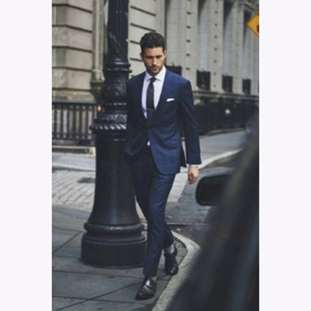 Aliexpress.com : Buy Fashion Dark Blue Men Suit 2017 Elegant Mens ...