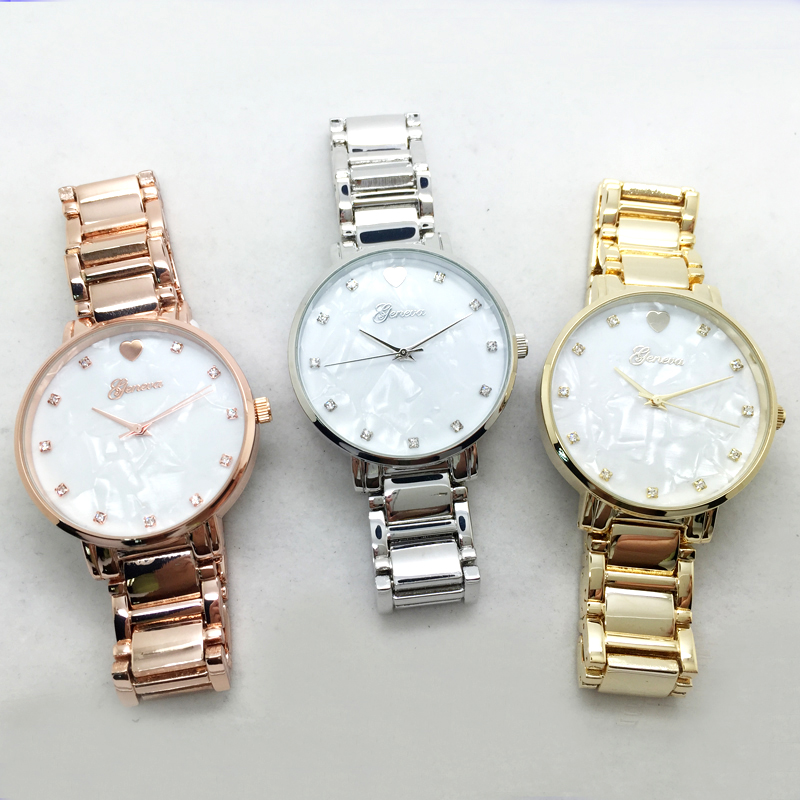 Hot selling famous brand women cute watch mother of pearl heart dial Geneva watch clock woman with Japan quartz movement whole set selling 16 folding mother