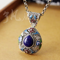 ai silver wholesale 25*42MM Sterling Silver Vintage pattern natural lapis lazuli Cloisonne pendant sweater chain pendant