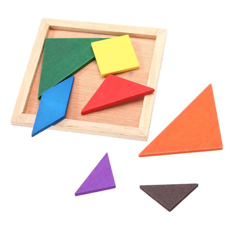 ไม้ Tangram ปริศนา DIY Hand Made สมอง Teaser ปริศนาพัฒนาการเด็กของเล่นไม้