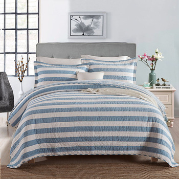 Quality Plain Stripe Quilt Set 3PCS Quilted bedding Wash cotton Quilts Bedspread for Bed Covers King Size Coverlet Soft Blanket