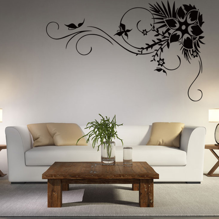 Black Flower Rattan Wall Sticker Home Decor Elegant Living ...