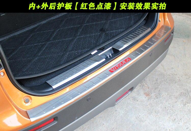 Para suzuki vitara 2015 2016 2017 peças de automóvel 2 pçs/set alta qualidade aço inoxidável interno externo traseiro protetor sill|Estilo de cromo| |  - title=