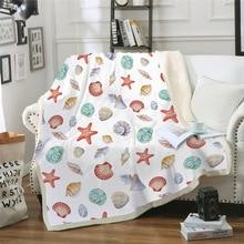 Sofa cushion Yoga mat Blanket Air Conditioner Thick Double-layer Plush 3D Digital Printing Starfish Series