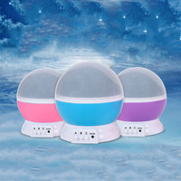 Rotating Night Light Projector Spin Starry Star Luminaria Moon Novelty Table Lamp Children Kids Baby Sleep