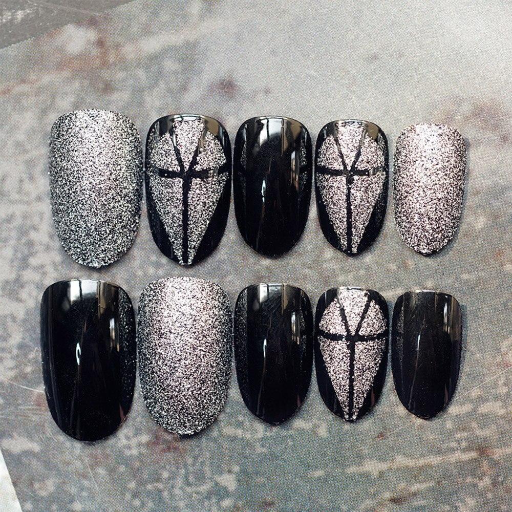 24 teile/satz Schwarz Grau Diamant Muster Frauen Nail art Tipps ...