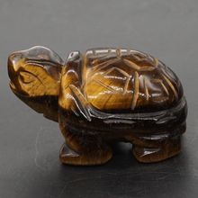 Turtle Tortoise Figurine 2 Natural Gemstone Yellow Tiger Eye Crystal Carved Statue Crafts Home Decor