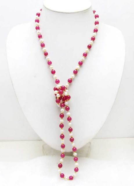 SALE 6-7mm White Natural freshwater Pearl & 8mm Round Rose pink Jade 40'' Necklace -nec6054  wholesale/retail Free shipping