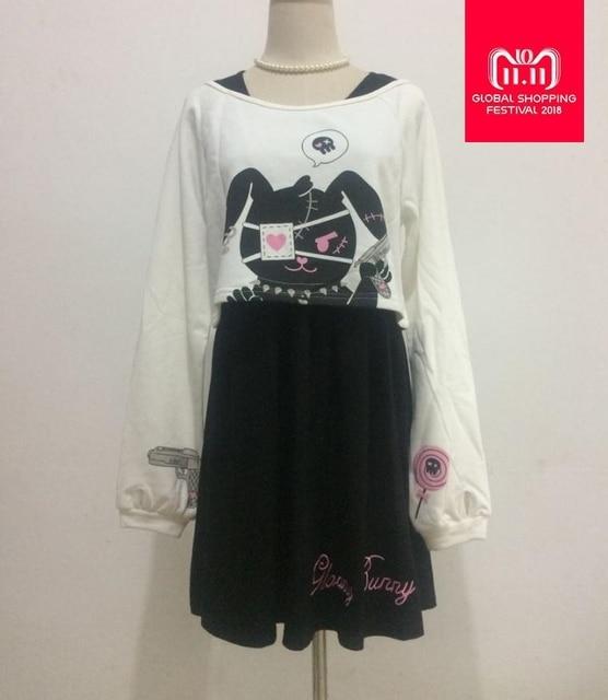 Black Comic Rabbit Dress Teens Girls 2 Pcs Suit Sweet Dress Short