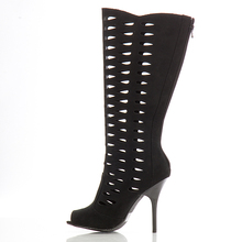 Black Hollow Out Knee High Boots For Women Peep Toe Stilettos Large Size Long Boots Custom Size Handmade Shoes Women 2016 New