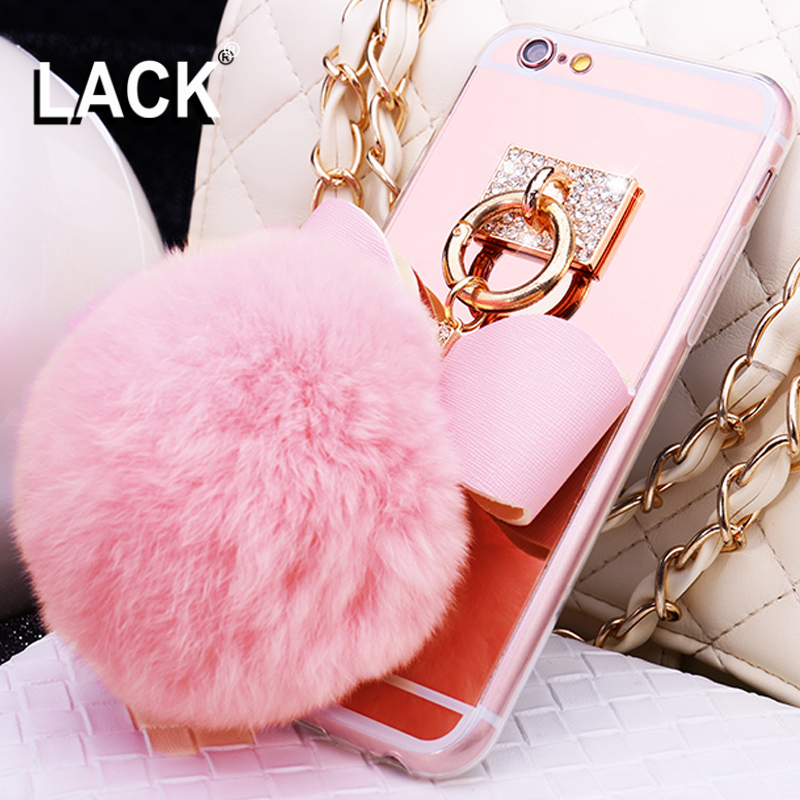 Lack rabbit fur ball bowknot metal ring cases soft mirror tpu girly coque cover for iphone 6 6s - Lack fur kuchenwand ...