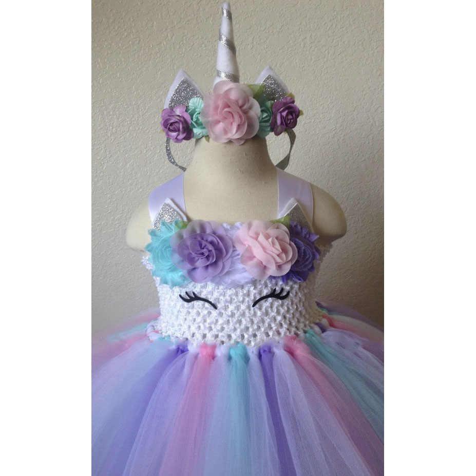 Beautiful Baby Girl Unicorn Tutu Dress First Birthday With Matching Headband For Girls 12