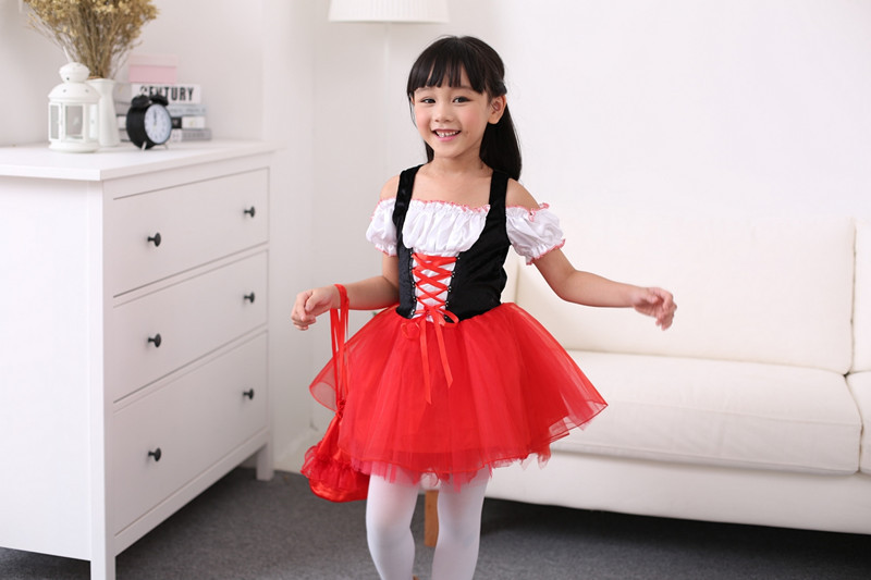red riding hood dress girl cute halloween costumes for kids red cloak anime cosplay dress carnaval performance clothes