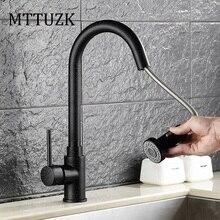 MTTUZK Бесплатная Доставка pull Out смеситель для Кухни смесители Черный Кварц с Белой Точкой ванной бассейна смесители кран двухстороннее спрей