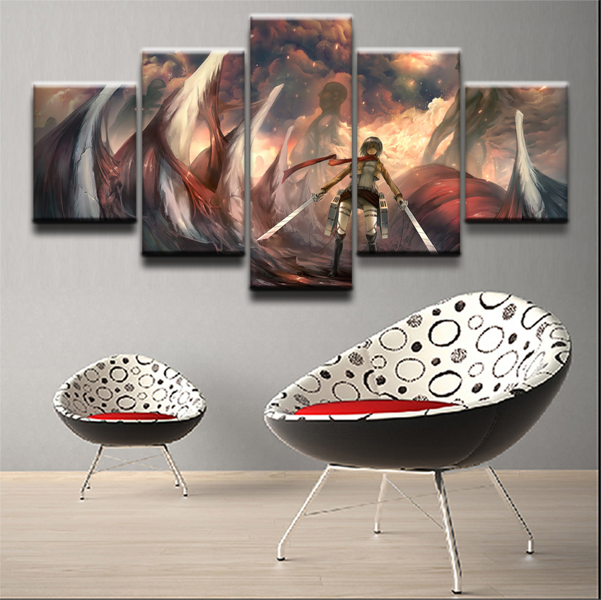 Modern Canvas Painting Decor Pictures 5 Pieces Attack On