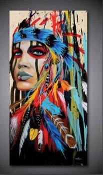 Modern oil painting art, living room, canvas painting, triple Indian feather size 20*40inch