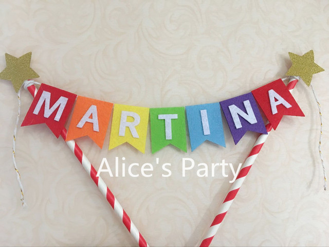Personalized Circus Rainbow Kids Name Smash Cake Topper Bunting Baby Shower Banner Flag Birthday Party Gold Twinkle Stars