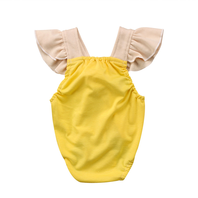 Infant Baby Girls Back Cross Ball Romper Fashion Newborn Baby Clothes 2018 Summer New Girls Fly-sleeve Jumpsuit Playsuit Outfits newborn kids baby girls clothes watermelon print romper playsuit summer jumpsuit headband set bm88
