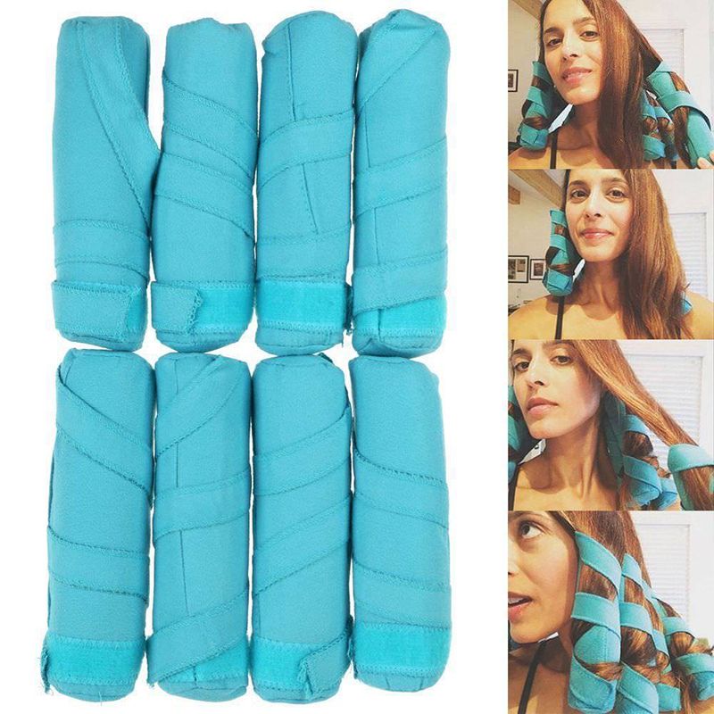 8pcs/set Hair Rollers Long Cotton Curlers Diy Styling Tools Blue Color Makeup Magic Long Hair Roller Charming Curls For Women Careful Calculation And Strict Budgeting Braid Maintenance