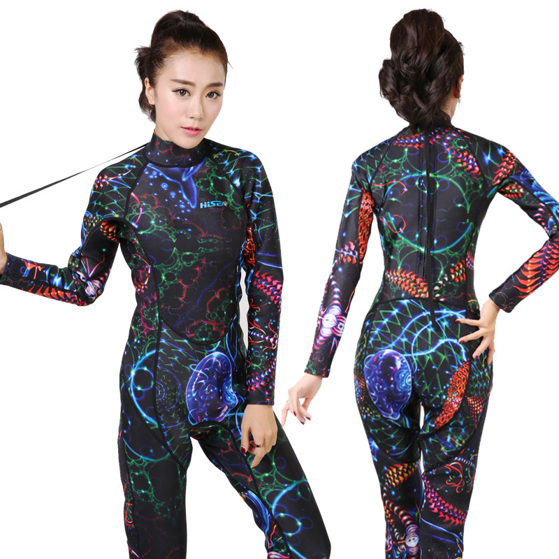 Women 3mm Neoprene Long Sleeve Wetsuit One-piece Swimwear Diving Suit Swimsuit Snorkling Surfing Scuba Diving Suit Swim Clothes high quality zipper long sleeve women swimsuit round collar sexy one pieces swimwear girl wetsuit diving swimming suit